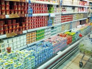 Israeli yogurt aisle